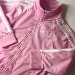 Girls adidas track jacket pink white stripes 4t